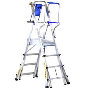 aluminiowa drabina magazynowa, podest roboczy, platforma montażowa , drabina teleskopowa - Telefly Light, drabina naschody